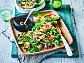 Hot Smoked Salmon with Sesame Salad