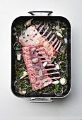 Raw racks of lamb in pan