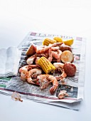 Seafood boil on newspaper