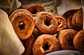 Sweetened bagels in a street kitchen