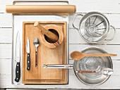 Kitchen utensils for making pineapple desserts