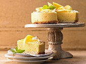 Mango mousse cake with coconut and ginger biscuits
