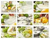 Dickmilch-Blanc-Manger mit Obstsalat zubereiten