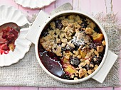 Wholegrain blackberry crumble with peach and ginger