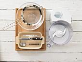 Kitchen utensils for making crumble