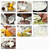 Preparing Chocolate cream with oranges and kiwi fruit