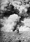 Photographer and volcanic eruption, 1900s