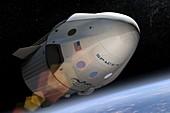 SpaceX's Crew Dragon in orbit, illustration
