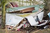 Caravan park destroyed by flooding, UK