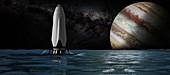 SpaceX's ITS spacecraft at Jupiter, illustration