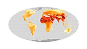 Global particulate pollution 2010-2012, satellite map