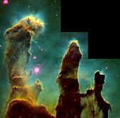 Pillars of Creation in Eagle Nebula, 1995 HST image