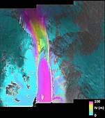 Pine Island Glacier ice flow, satellite radar image