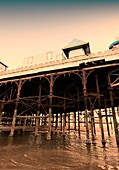 Pier with sea, Blackpool, UK