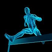 Athlete hurdling over hurdle, illustration