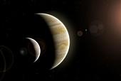 Artwork of Europa, Io and Jupiter