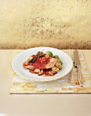 Chicken saltimbocca with brussels sprouts