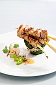 Chicken and lemongrass skewers with peanut sauce