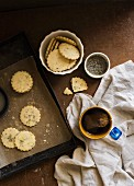 Lavender and lemon shortbread cookies and a cup of tea