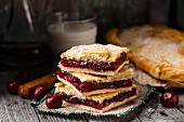 Delicious homemade pie stuffed with sweet cherries