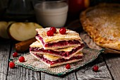 Delicious homemade pie stuffed with cranberries and apple