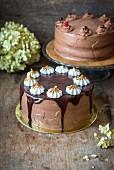 Zwei Schokoladenkuchen, verschieden verziert