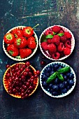 Fresh Berries on Wooden Background