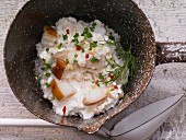 Risotto with smoked curd, chives and dill