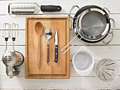 Kitchen utensils for making fish risotto