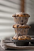 Stack of freshly baked banana chocolate chip muffins