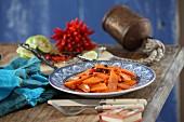 Fried vanilla and chilli carrots