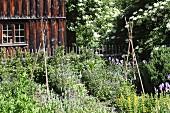 Herb garden outside farmhouse