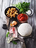 Ingredients for a pizza cake with fried chicken breast