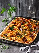 Pointed cabbage tray-baked pizza with cabanossi sausage