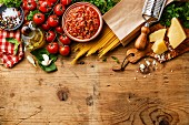 Italian food background with Spaghetti Bolognese ingredients