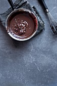 Saucepan of melted chocolate