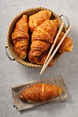 Fresh croissants in a basket