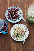 Red cabbage and kimchi salad
