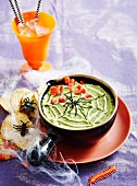 Gooey green spiderweb dip