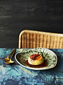 Mexican holy trinity flan with candid chilli and chocolate crumb
