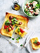 Tomato Tart with fig, mozzarella and Basil salad