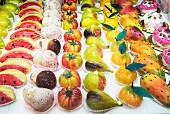 Frutta Martorana, traditional marzipan sweets, Cefalu, Sicily, Italy, Europe