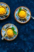 Homemade Mango Sorbet with Mint Leaves