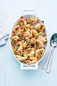 Conchiglie stuffed with seafood and vegetables