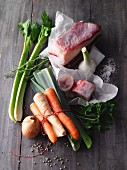Vegetables, herbs and bones for meat stock
