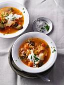 Vegetarische Sauerkraut-Soljanka mit Räuchertofu