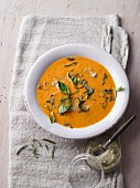 Vegan tomato and pepper soup with Brazil nut cream