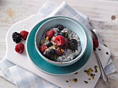 Chia pudding with almond milk and fresh berries