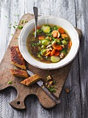 Vegan brussel sprout bouillon with lupine fillet