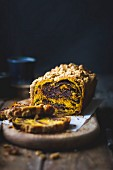 Pumpkin babka cake with chocolate filling.